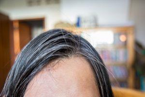 白髪交じりの髪の毛の女性